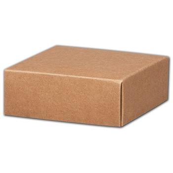 Kraft Gift Box Lids, 4 x 4 x 1 1/2