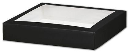 "Black Gift Box Lids with Window, 8 x 8 x 1 1/2"""