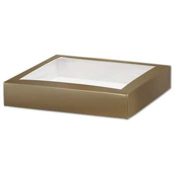Gold Gift Box Lids with Window, 8 x 8 x 1 1/2