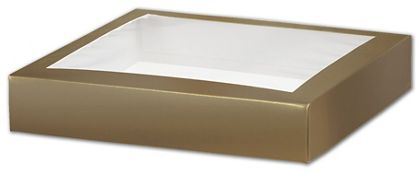 Gold Gift Box Lids with Window, 8 x 8 x 1 1/2""