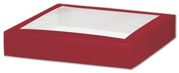 Red Gift Box Lids with Window, 8 x 8 x 1 1/2