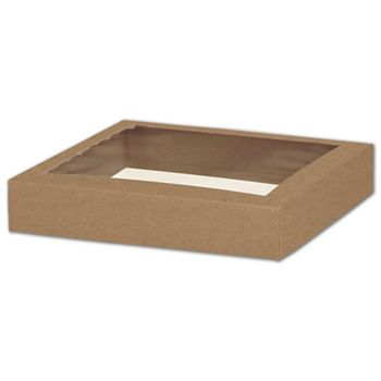 Kraft Gift Box Lids with Window, 8 x 8 x 1 1/2