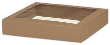 Kraft Gift Box Lids with Window, 8 x 8 x 1 1/2""