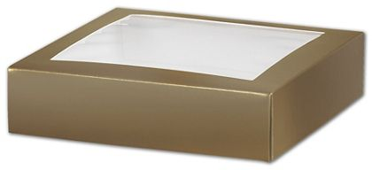 Gold Gift Box Lids with Window, 6 x 6 x 1 1/2""