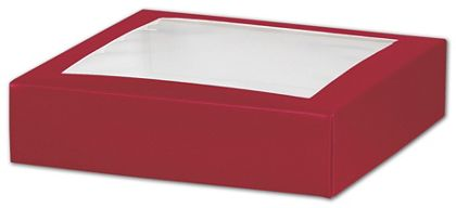 Red Gift Box Lids with Window, 6 x 6 x 1 1/2""