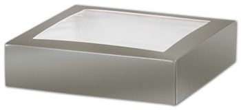 Silver Gift Box Lids with Window, 6 x 6 x 1 1/2