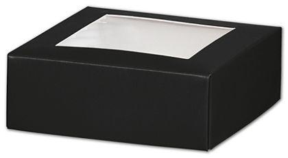 "Black Gift Box Lids with Window, 4 x 4 x 1 1/2"""