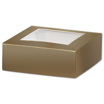 Gold Gift Box Lids with Window, 4 x 4 x 1 1/2