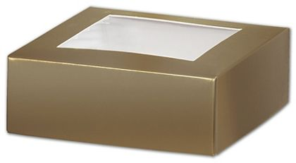 Gold Gift Box Lids with Window, 4 x 4 x 1 1/2""
