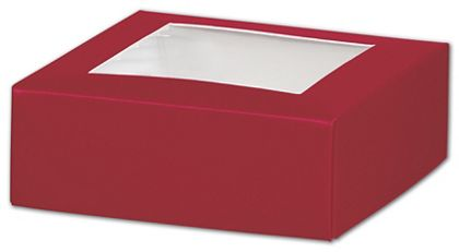 Red Gift Box Lids with Window, 4 x 4 x 1 1/2""