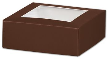 Chocolate Gift Box Lids with Window, 4 x 4 x 1 1/2