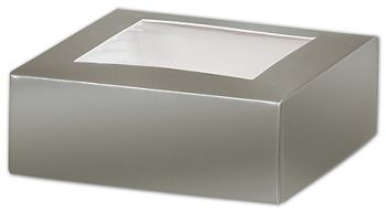 Silver Gift Box Lids with Window, 4 x 4 x 1 1/2