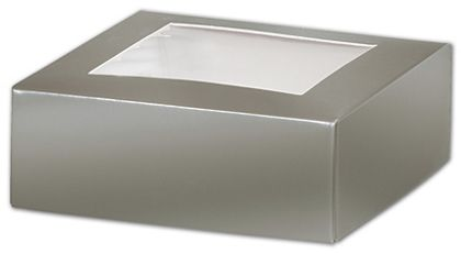 Silver Gift Box Lids with Window, 4 x 4 x 1 1/2""