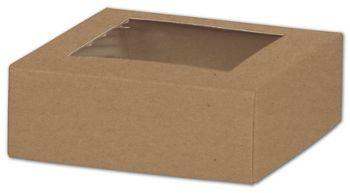 Kraft Gift Box Lids with Window, 4 x 4 x 1 1/2