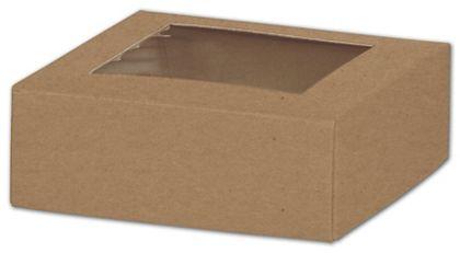 "Kraft Gift Box Lids with Window, 4 x 4 x 1 1/2"""