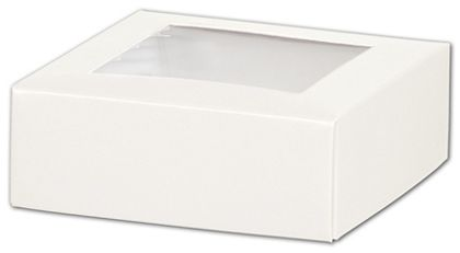 White Gift Box Lids with Window, 4 x 4 x 1 1/2""