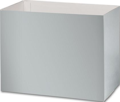 Metallic Silver Gift Basket Boxes, 8 1/4x4 3/4x6 1/4