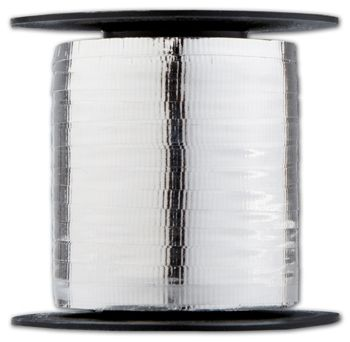 Curling Metallic Silver Crimped Ribbon, 3/16