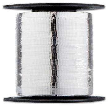 Curling Metallic Silver Crimped Ribbon, 3/16