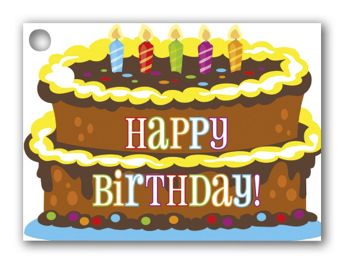 Birthday Cake Gift Tags, 3 3/4 x 2 3/4