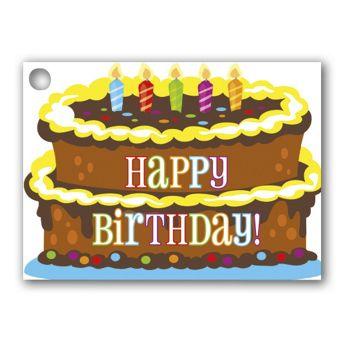 Birthday Cake Gift Tags, 3 3/4 x 2 3/4