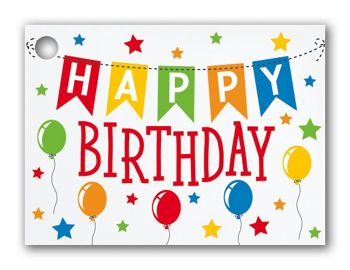 Birthday Banner Gift Cards, 3 3/4 x 2 3/4