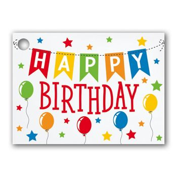 Birthday Banner Gift Tags, 3 3/4 x 2 3/4