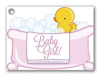 Baby Girl Bubbles Gift Tags, 3 3/4 x 2 3/4