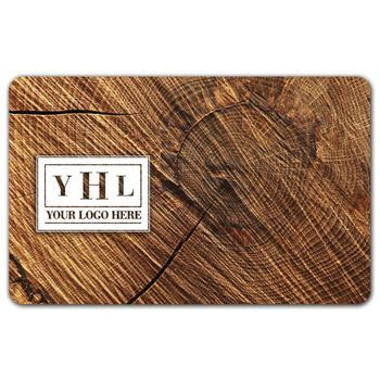 Circle Wood Grain Gift Card, 3 3/8 x 2 1/8