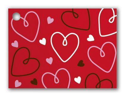 """Doodle Hearts Gift Tags, 3 3/4 x 2 3/4"""""""