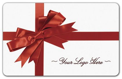 """Red Ribbon Gift Card, 3 3/8 x 2 1/8"""""""