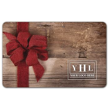 Red Ribbon Wood Gift Card, 3 3/8 x 2 1/8