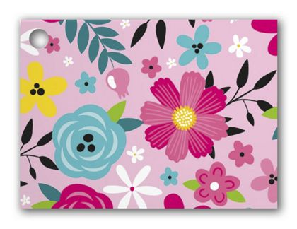 """Pink Floral Gift Tags, 3 3/4 x 2 3/4"""""""