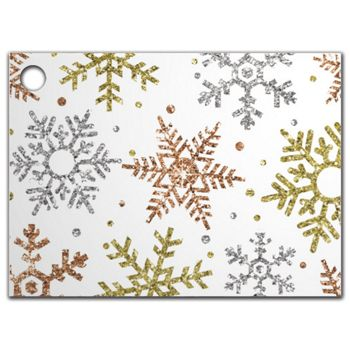 """Glitter Snowflakes Gift Tags, 3 3/4 x 2 3/4"""""""