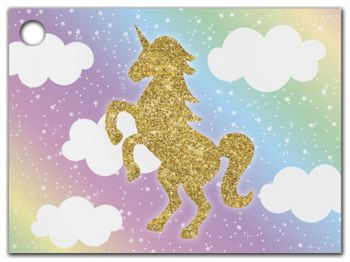 Glitter Unicorn Gift Tags, 3 3/4 x 2 3/4