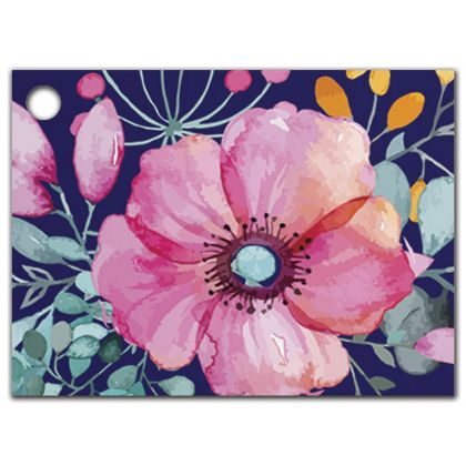 """Navy Floral Gift Tags, 3 3/4 x 2 3/4"""""""