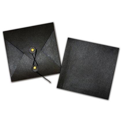 "Black Kraft Gift Card Pockets, 4 3/8 x 4 3/8"""