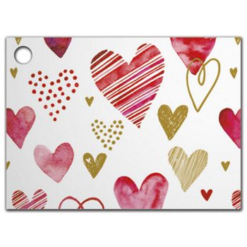 """Playful Hearts Gift Tags, 3 3/4 x 2 3/4"""""""