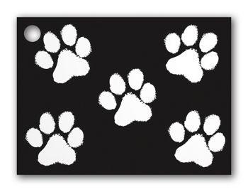 Black Paw Print Gift Cards, 3 3/4 x 2 3/4