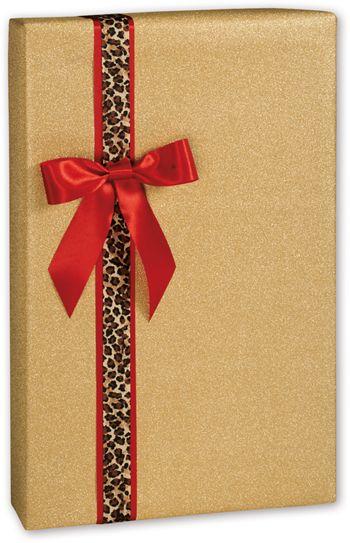 Gold Glitter Gift Wrap, 24