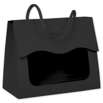 Black Gourmet Gift Totes, 5 1/8 x 2 5/8 x 4 1/4