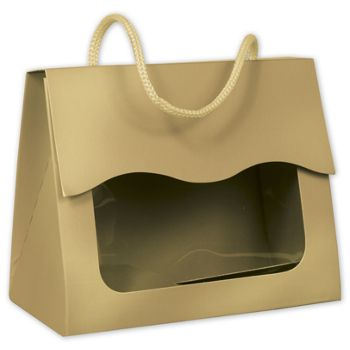 Gold Gourmet Gift Totes, 5 1/8 x 2 5/8 x 4 1/4