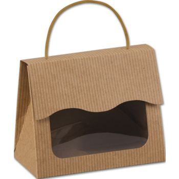 Kraft Stripes Gourmet Gift Totes, 5 1/8 x 2 5/8 x 4 1/4