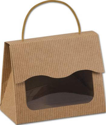 Kraft Stripes Gourmet Gift Totes, 6 1/2 x 3 1/4 x 5 5/16