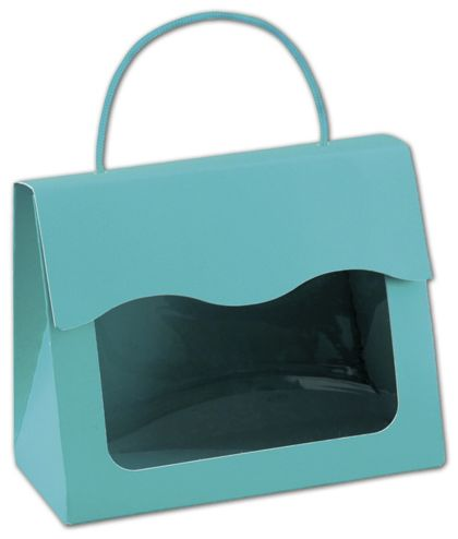 Robin's Egg Blue Gourmet Gift Totes, 6 1/2x3 1/4x5 5/16""