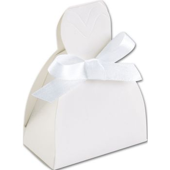 White Gown Favor Boxes, 2 5/8 x 1 1/2 x 3 3/4
