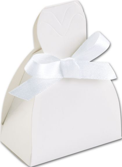 White Gown Favor Boxes, 2 5/8 x 1 1/2 x 3 3/4""