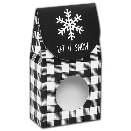 Let it Snow Plaid Gourmet Window Boxes, 3 1/2x1 3/4x6 1/2""