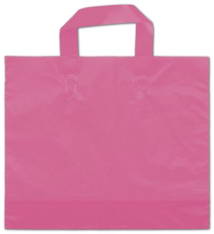 """Hot Pink Frosted Economy Shoppers, 12 x 10"""" + 4"""" BG"""