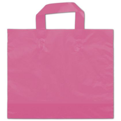 "Hot Pink Frosted Economy Shoppers, 12 x 10"" + 4"" BG"